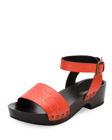 Tomas Maier Embossed-Leather Clog Sandal, Fire