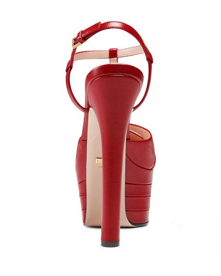 Angel Leather Platform Pump, Hibiscus Red