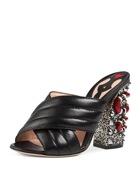 GucciWebby Quilted Leather Snake-Heel Mule Sandal, Nero