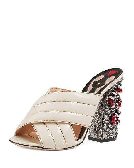 Webby Quilted Leather Snake-Heel Mule Sandal, Mystic White