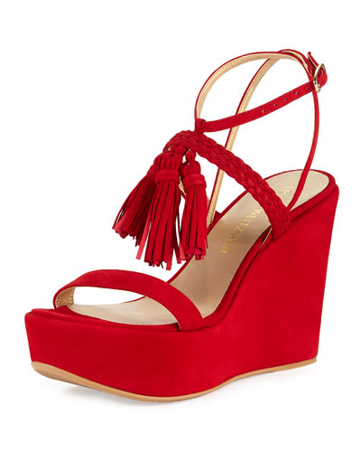 Tasselmania Suede Wedge Sandal, Red