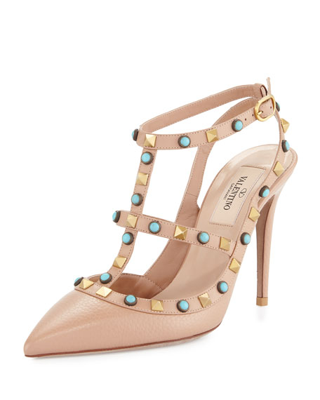 Valentino Rockstud Cabochon Leather 100mm Pump, Soft