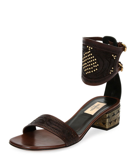 Valentino Studded Vachetta Ankle-Cuff Sandal, Cacao/Black