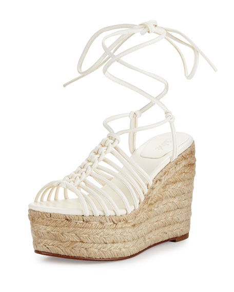 Chloe Caged Leather Espadrille Wedge Sandal, White