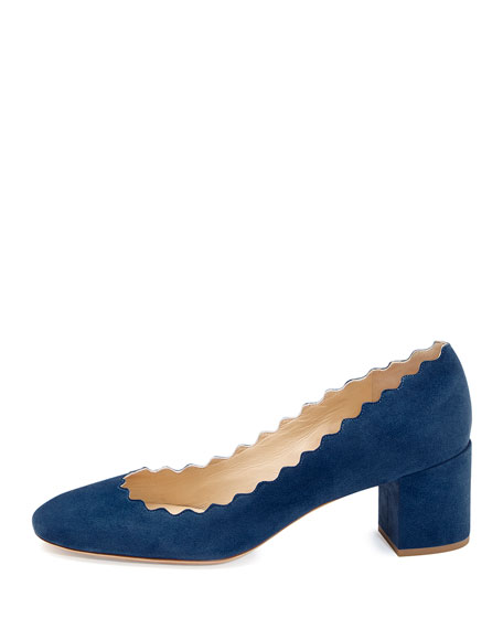Scalloped Suede Ballerina Pump, Baltico