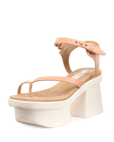 Altea Faux-Leather Platform Sandal, Powder Rose