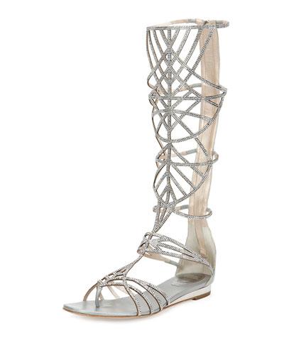 Crystal Tall Gladiator Sandal, Silver