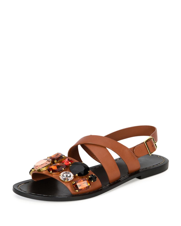 147eebb29 Marni Jeweled Leather Flat Sandal