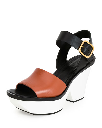 Colorblock Leather Wedge Sandal, Brown/Black/White