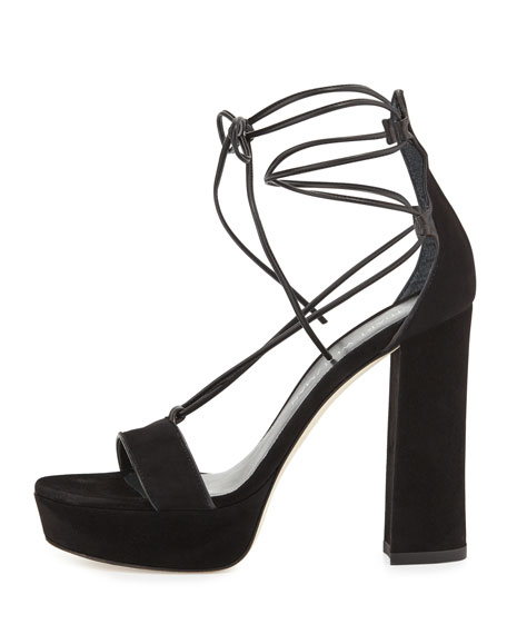Wrap-It Suede Chunky-Heel Sandal, Black