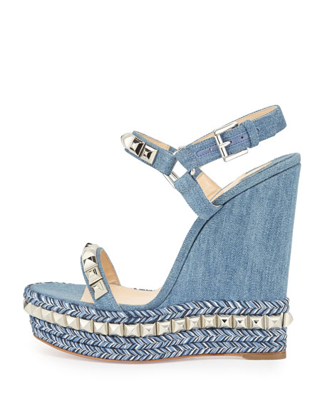 Cataclou Denim 140mm Wedge Red Sole Sandal, Blue/Silver