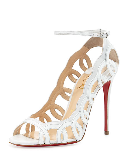 Christian Louboutin Houla Hot Patent 100mm Red Sole Sandal, White