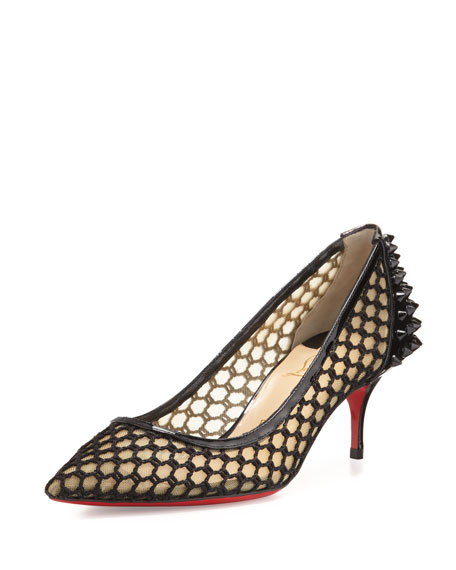 red bottom shoes knock off - Christian Louboutin Guni Mesh Spike 55mm Red Sole Pump, Black