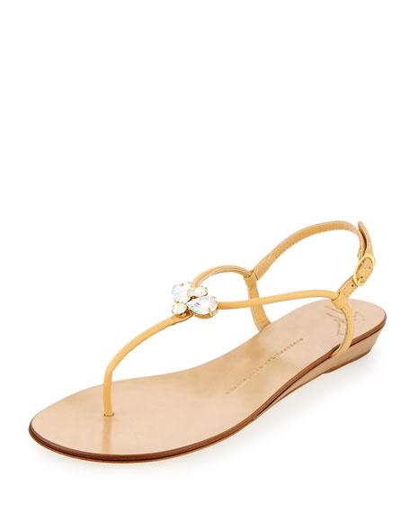 Giuseppe Zanotti Zerlock Jeweled Thong Sandal, Sable