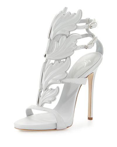 Coline Flame Suede High-Heel Sandal, White