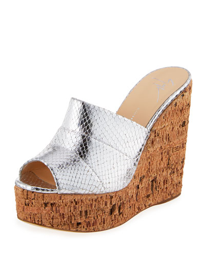 Roz Snake-Embossed Wedge Slide Sandal, Silver
