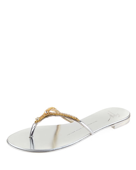 Giuseppe Zanotti Nuvorock Crystal Flat Thong Sandal, Silver