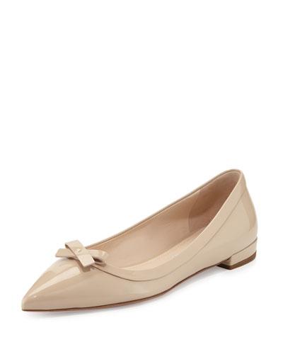 Vernice Pointed-Toe Bow Skimmer Flat, Travertino