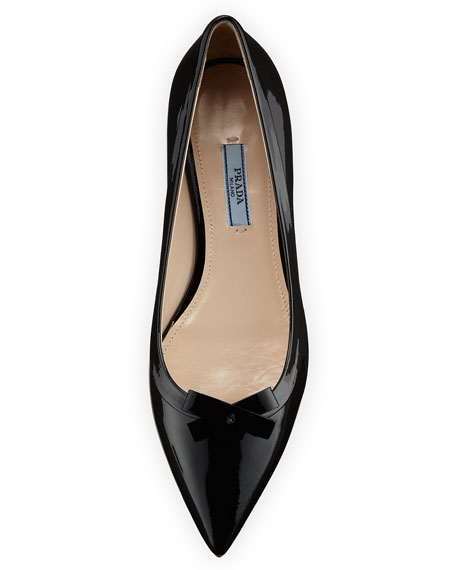 Vernice Pointed-Toe Bow Skimmer Flat, Black (Nero)