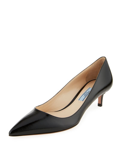 Patent Saffiano 45mm Pump, Black (Nero)