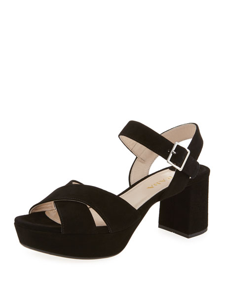 59071a8dc56f Prada Crisscross Suede Platform Sandals | Neiman Marcus