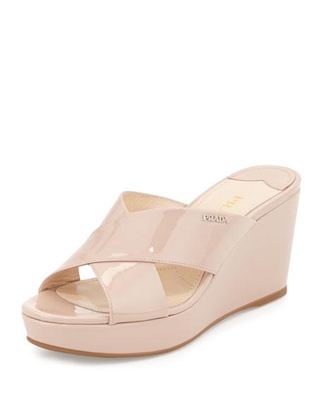 Prada Patent Crisscross Wedge Slide Sandal, Cipria