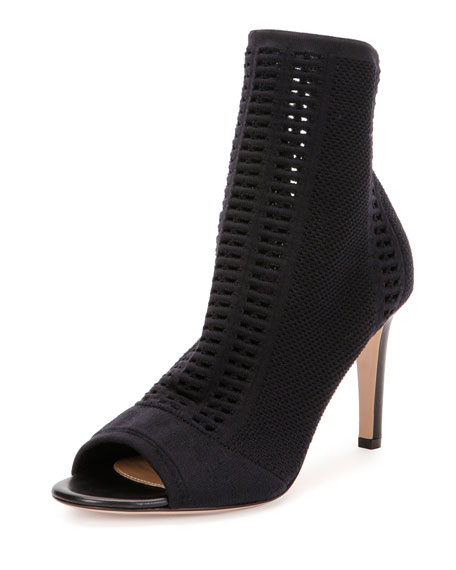 Gianvito Rossi Knit Open-Toe Bootie, Black