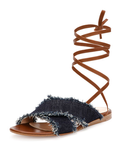 Frayed Ankle-Tie Flat Sandal, Denim/Luggage