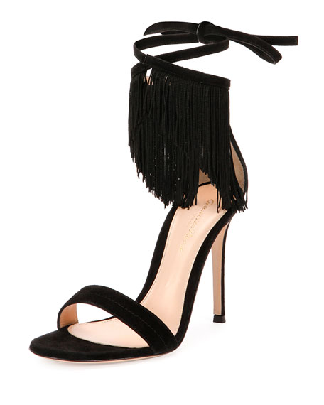 Fringe Suede Ankle-Wrap Sandal, Black