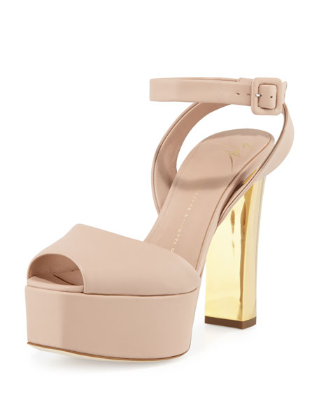 Giuseppe Zanotti Lavinia Leather Platform Sandal, Nude