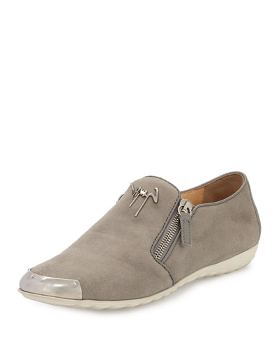 Suede Logo Smoking Slipper, Gray