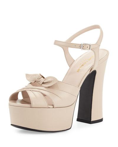 Candy Leather Platform Sandal, Poudre