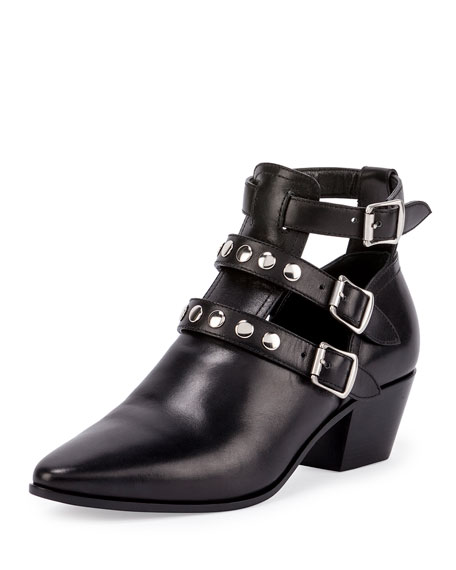 Saint Laurent Three-Strap Leather Ankle Boot, Black (Nero)