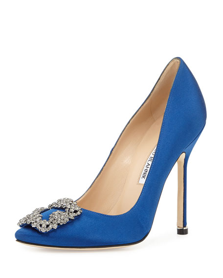 Manolo Blahnik Hangisi Crystal-Buckle Satin 115mm Pump, Cobalt
