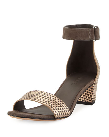 Vince Rita Pyramid-Embossed City Sandal, Bronze