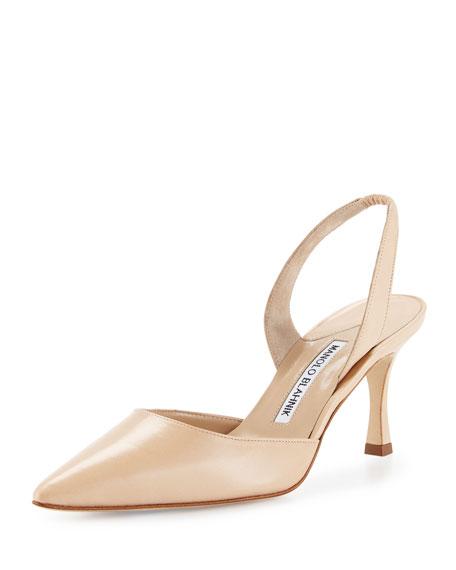 Manolo Blahnik Carolyne Leather Mid-Heel Halter Pump, Nude-7811