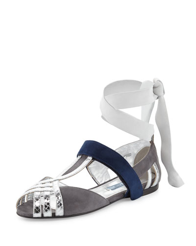 Snake & Suede Ankle-Wrap Sandal, Nebbia/Argento
