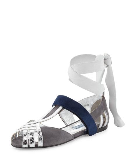 Prada Snake & Suede Ankle-Wrap Sandal, Nebbia/Argento