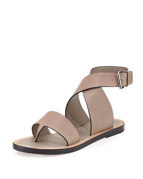 Vince Mailin Leather Ankle Wrap Flat Sandal Pumice