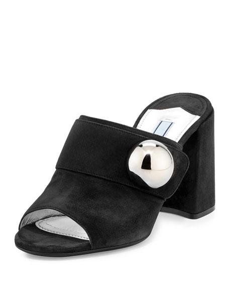 Prada Suede Chunky-Heel Slide Sandal, Black (Nero)