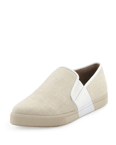 Phalen Pointed-Toe Slip-On Sneaker, Pumice/Alabaster