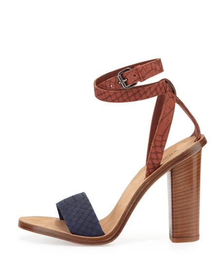 Nava Snake-Embossed Ankle-Wrap Sandal, Indigo/Whiskey