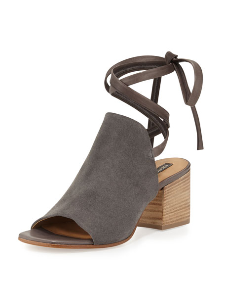 Alberto Fermani Natalina Suede Ankle-Tie Sandal, Carbone