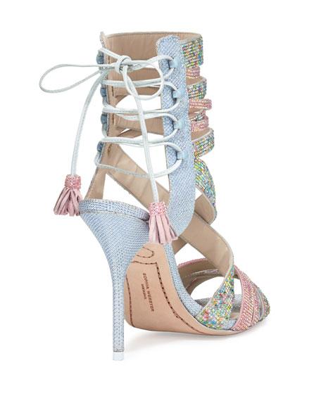 Adeline Dreamy Crystal Lace-Up Sandal, Pink/Blue