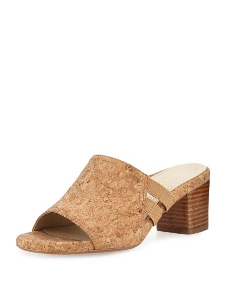 Taryn Rose Rimba Cork Chunky-Heel Sandal, Natural