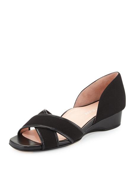 Taryn Rose Kaida Crisscross Demi-Wedge Sandal, Black