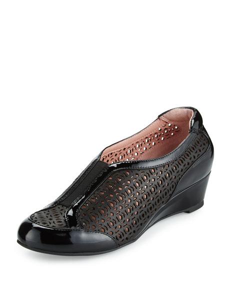 Taryn RoseParus Laser-Cut Demi-Wedge Sneaker, Black