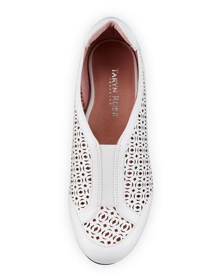 Parus Laser-Cut Demi-Wedge Sneaker, White