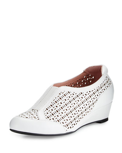 Parus Laser-Cut Demi-Wedge Sneaker, White