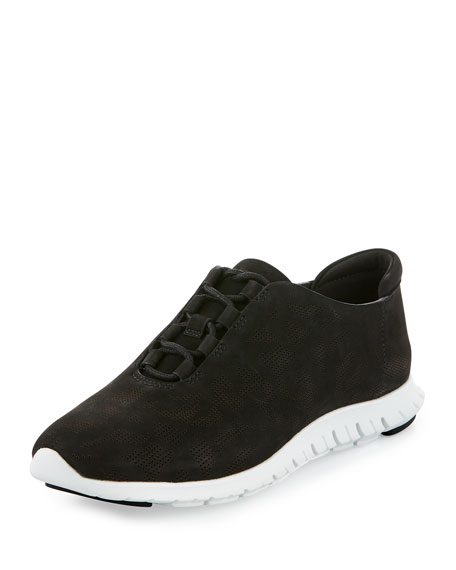 ZeroGrand Perforated Leather Sneaker, Black